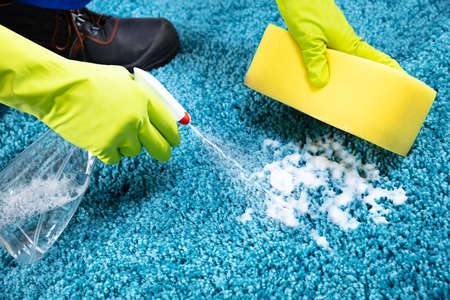Cropped Hands Cleaning Rug With Soap Foam At Home Archivio Fotografico