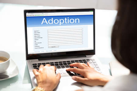 Close-up Of Woman Filling Adoption Paternity Registry In Laptop