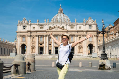 Excited Woman In Front Of St. Peters Basilica in the Vatican