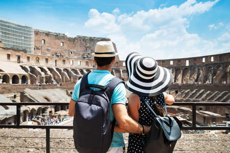 Young Tourist Couple Standing Inside Of Colosseum In Rome, Italy 写真素材