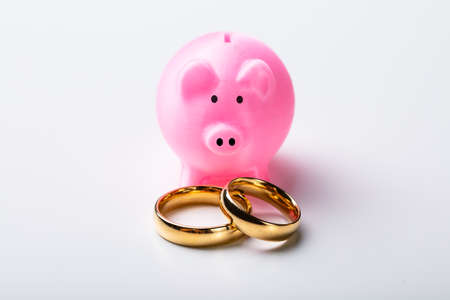 Close-up Of Golden Wedding Rings With Pink Piggy Bank Arranged Over Isolated On White Background