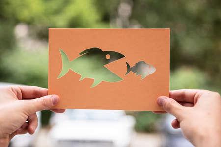 Hände halten Papier mit ausgeschnittenen Fischen im Freien