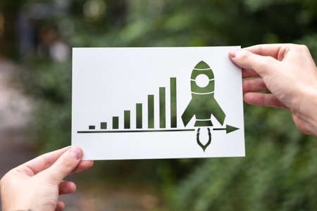 Hands Holding Paper With Cutout Growth Chart Outdoors Stock fotó