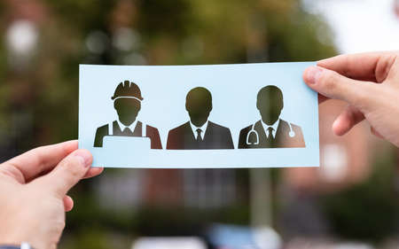 Hands Holding Paper With Cutout Career Choice Outdoors