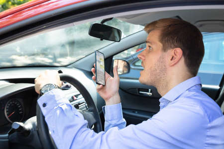 Driver Had Almost Accident While Using Phone While Driving Car