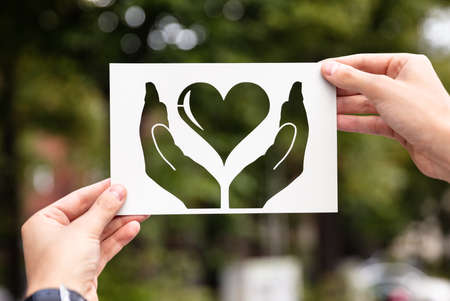 Hands Holding Paper With Cutout Hands Protecting Heart Outdoors