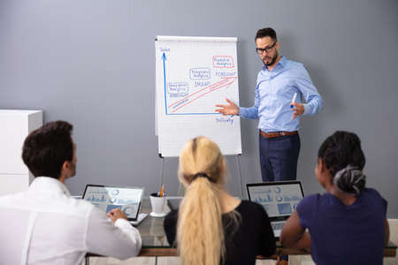 Confident Business Man Explaining Information Optimization At Conference Meeting