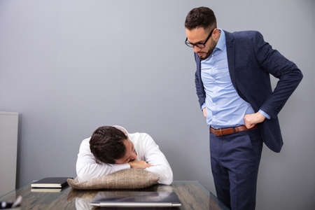 Angry Boss Caught Tired Lazy Employee Sleeping At Workplace