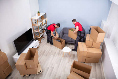 Two Young Movers In Uniform Picking And Putting Products In The Cardboard Boxes Banque d'images