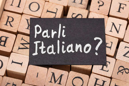 Speak Italian Question On Small Letter Wooden Blocks