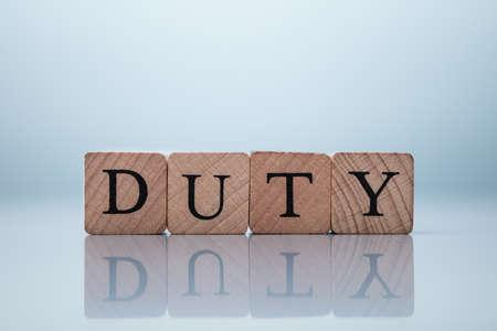 Duty Word Made Using Wooden Blocks. Jury Duty Concept