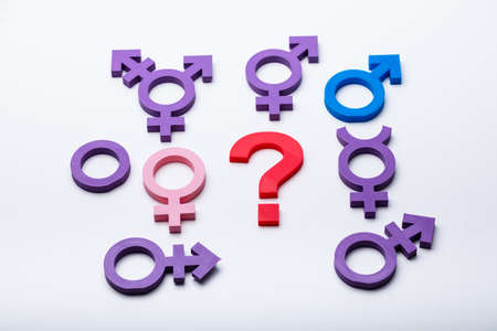 Question Mark And Multiple Gender Signs On White Background
