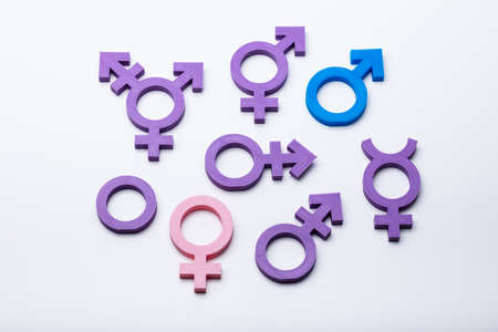 Multiple Gender Signs On White Background Free Gender Choice Concept