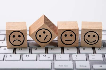 Online Service Satisfaction Survey Dices On Computer Keyboard Stok Fotoğraf