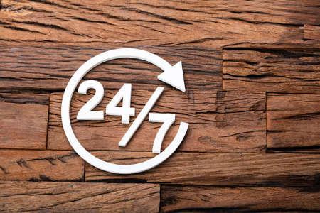 24 7 Customer Support Concept On Wooden Desk