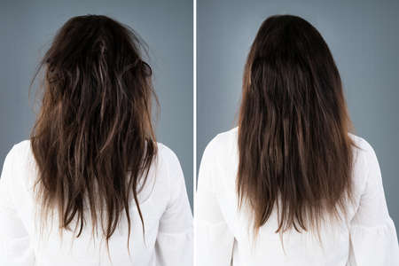 Womans Hair Before And After Hair Straightening On Grey Background