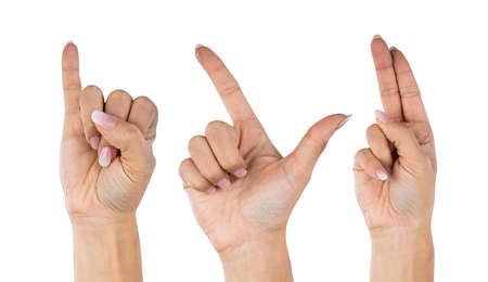 Woman Hands Showing I Love You Using Sign Language Zdjęcie Seryjne