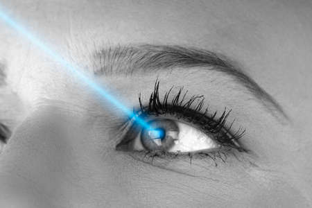 Laser Vision Correction Concept Photo Of Young Woman Stockfoto