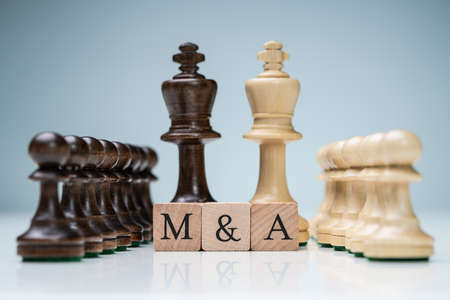 King And Queen Wooden Chess Pieces With Letter M And A Wooden Blocks