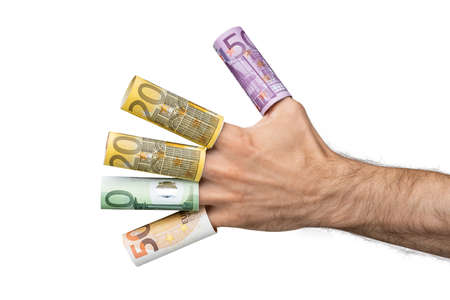 Close-up Of A Man's Hand Showing Rolled Up Euro Banknotes Over His Fingers Stock fotó - 133704459