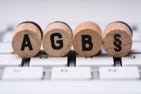 Closeup Of AGB Letters On Computer Keyboard. Standard Form Contract In Germany