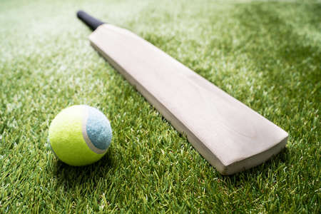 Close-up Of Wooden Cricket Bat And Ball On Turf Grass Standard-Bild - 133705511