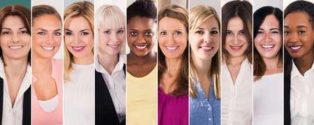 Happy Multi Ethnic Women Collage. Diverse Group Of Women Portraits Reklamní fotografie