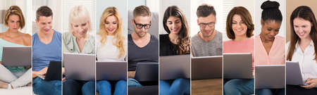 People Shopping On Laptops Collage. Diverse Group Of People Portraits