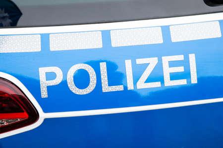 Detail Shot Of German Police Car Outdoors 版權商用圖片