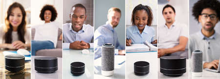 Using Voice Assistant And Smart Speakers Collage