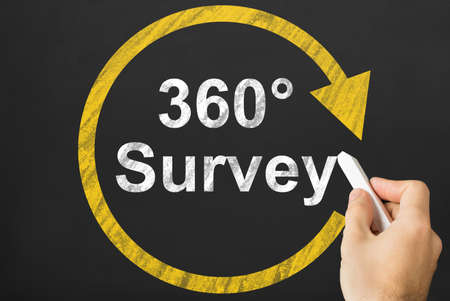 Persons Hand Writing 360 Degrees Survey With Circular Arrow On Black Board With Chalk Banco de Imagens