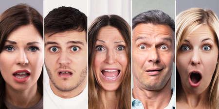 Collage von schockierten Menschen. Vielfältige Porträts von Personengruppen Standard-Bild