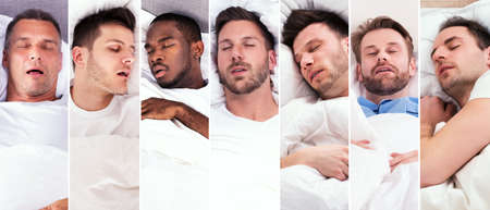 Men Snoring While Sleeping In Bed Collage