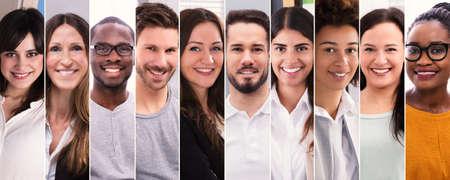 Collage de gente sonriente. Diverso grupo de retratos de personas