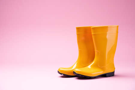 Photo Of Yellow Rubber Boots On Pink Background