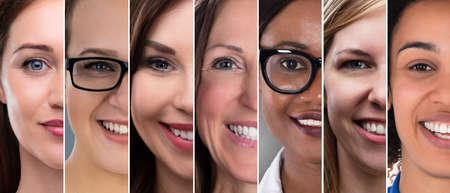 Happy Multi Ethnic Women Collage. Diverse Group Of Women Portraits Stock Photo
