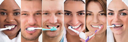 Brushing Teeth Collage. Diverse Group Of People Portraits