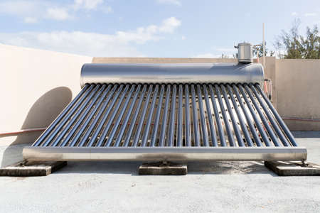 Solar Energy Water Heater Installed On Roof Stockfoto