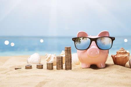 Pink Piggy Bank Near Growing Coin Stacks