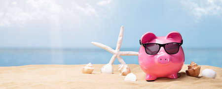 Pink Piggy Bank With Black Sunglasses On Beach