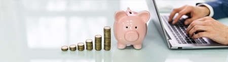 Piggy Bank And Increasing Coins Stack In Front Of A Person Using Laptop At Workplace