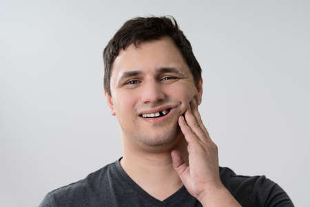 Close-up Of A Man Having Tooth Problem