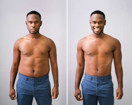 Man Before And After Weight Loss On Gray Background Banque d'images