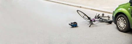 Bicycle And Car Fatal Accident On Road Stock Photo