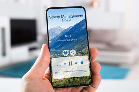 Person Using App For Meditation And Reducing Stress And Anxiety