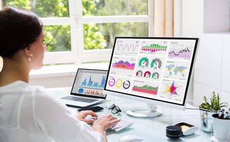 Markets KPI Dashboard On Computer. Information Technology Standard-Bild