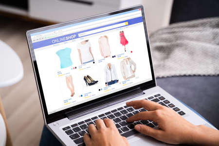 Women Shopping Online On Couch Or Sofa Using Laptop Standard-Bild