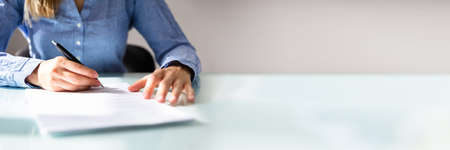 Hand Signing Law Contract Document In Office