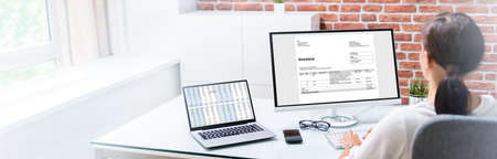 Young Woman Doing Online Invoice Management And Audit