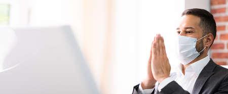 Man Prayer Worshiping Seeking God In Face Mask